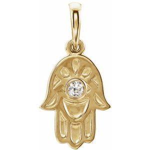 14K Yellow .03 CTW Diamond Hamsa Pendant