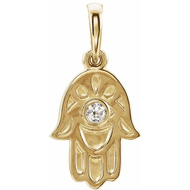 14K Yellow .03 CTW Diamond Hamsa Pendant