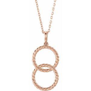 """14K Rose Interlocking Circle 16-18"""" Necklace"""