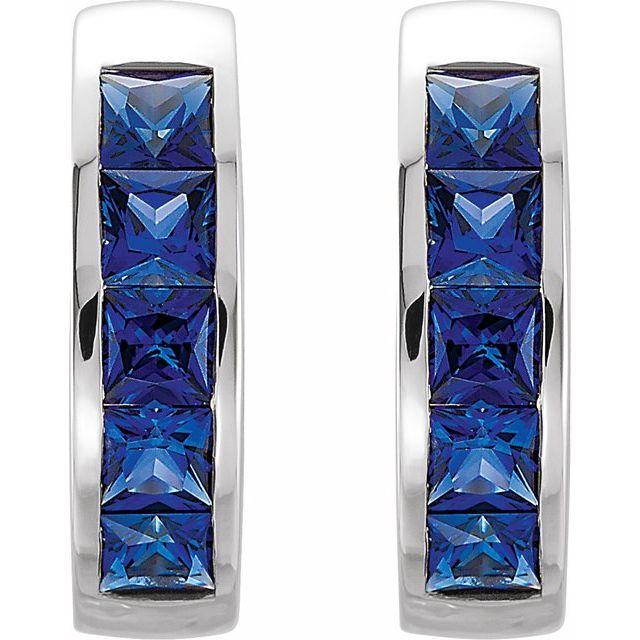 14K White Lab-Grown Blue Sapphire Hoop Earrings