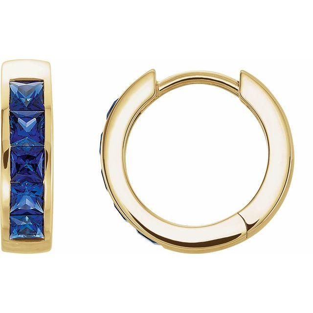 14K Yellow Lab-Grown Blue Sapphire Hoop Earrings