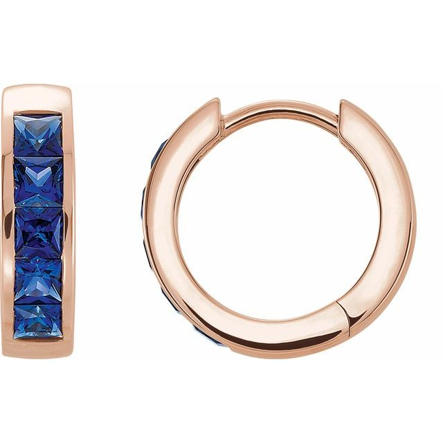 14K Rose Chatham® Created Blue Sapphire Hoop Earrings