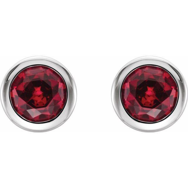 Sterling Silver 4 mm Round Imitation Ruby Birthstone Earrings