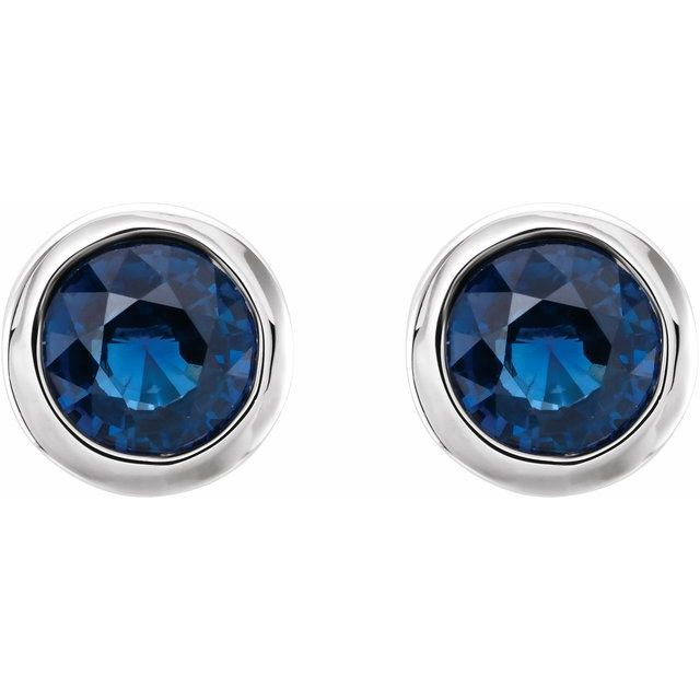 Sterling Silver 4 mm Round Imitation Blue Sapphire Birthstone Earrings