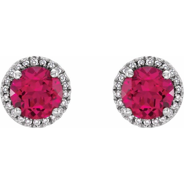 Sterling Silver Lab-Created Ruby & .01 CTW Diamond Earrings