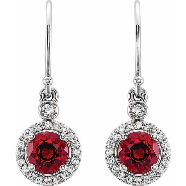 14K White Chatham Lab Grown Ruby & 1/6 CTW Diamond  Halo-Style Earrings