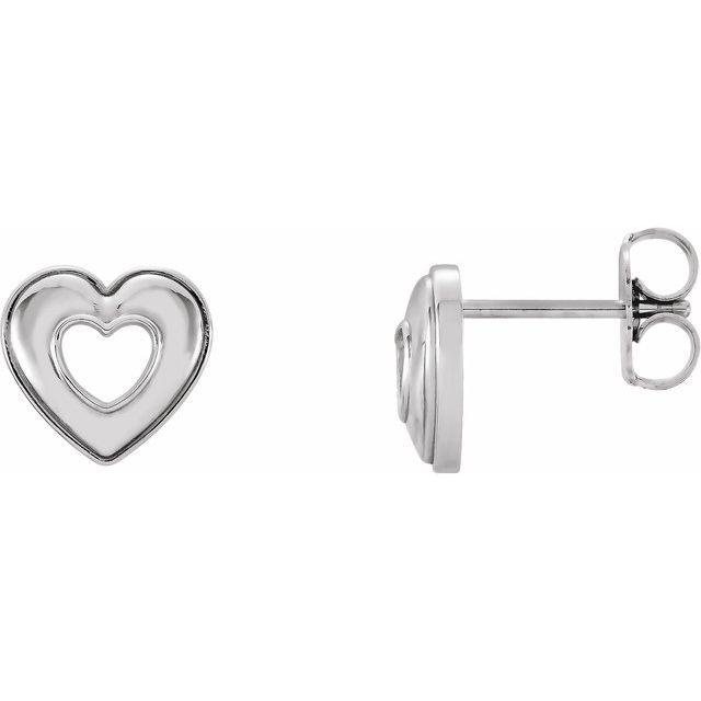 Sterling Silver 8.5x8 mm Heart Earrings