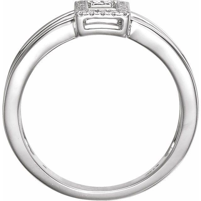 14K White .10 CTW Rectangle Geometric Diamond Ring