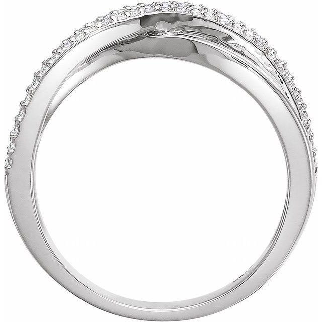 14K White .06 CTW Diamond Criss-Cross Ring