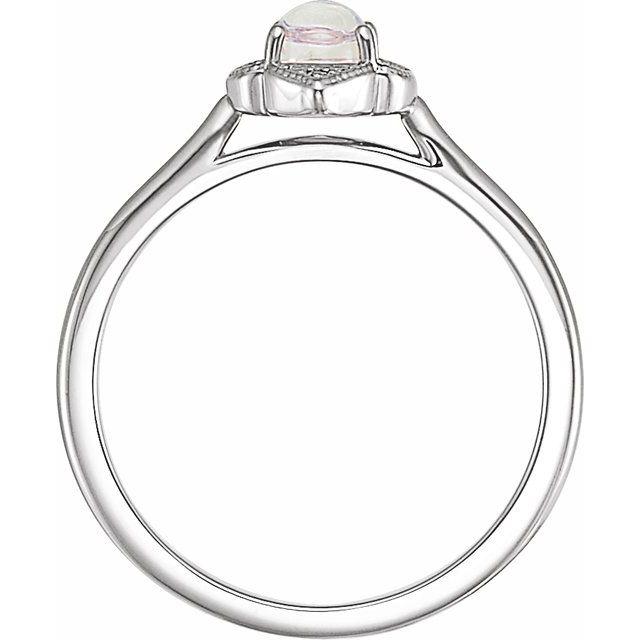14K White Rainbow Moonstone & .03 CTW Diamond Clover Cabochon Ring