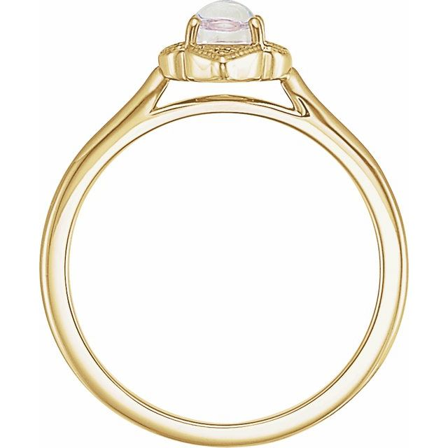 14K Yellow Rainbow Moonstone & .03 CTW Diamond Clover Cabochon Ring