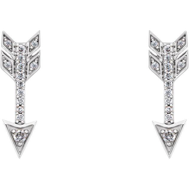 14K White 1/6 CTW Diamond Arrow Earrings