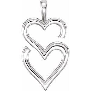 14K White Double Heart Pendant