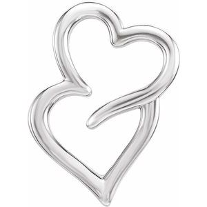 Sterling Silver Double Heart Slide Pendant
