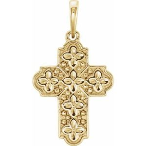 14K Yellow Ornate Floral-Inspired Cross Pendant