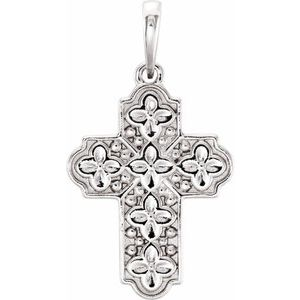 14K White Ornate Floral-Inspired Cross Pendant