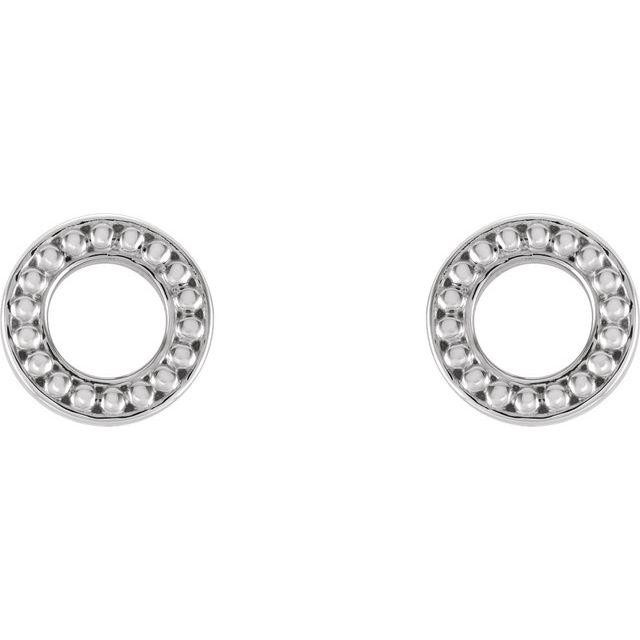 14K White Beaded Stud Earrings
