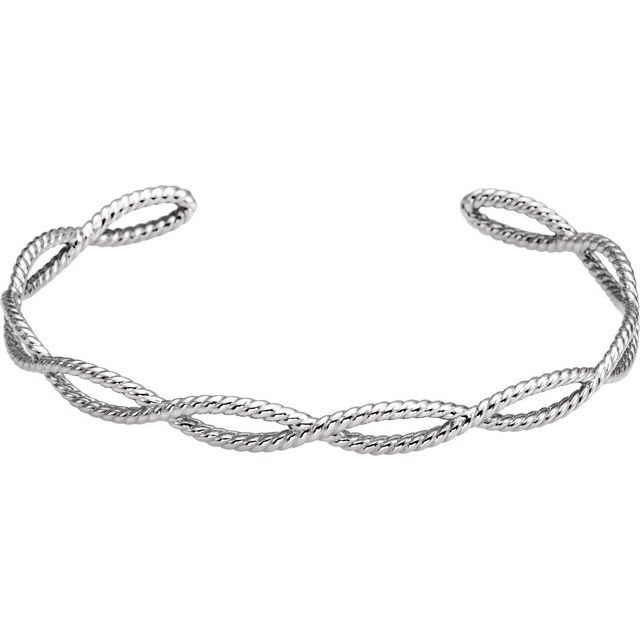 14K White Rope Cuff Bracelet