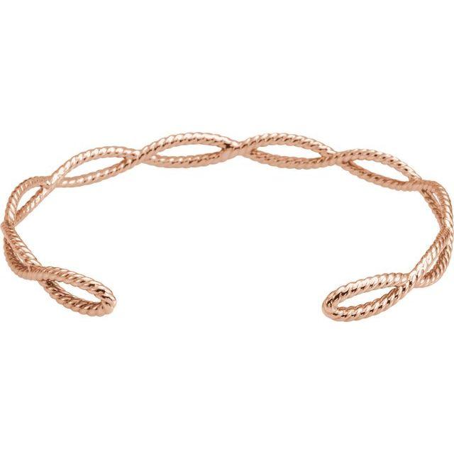 14K Rose Rope Cuff Bracelet