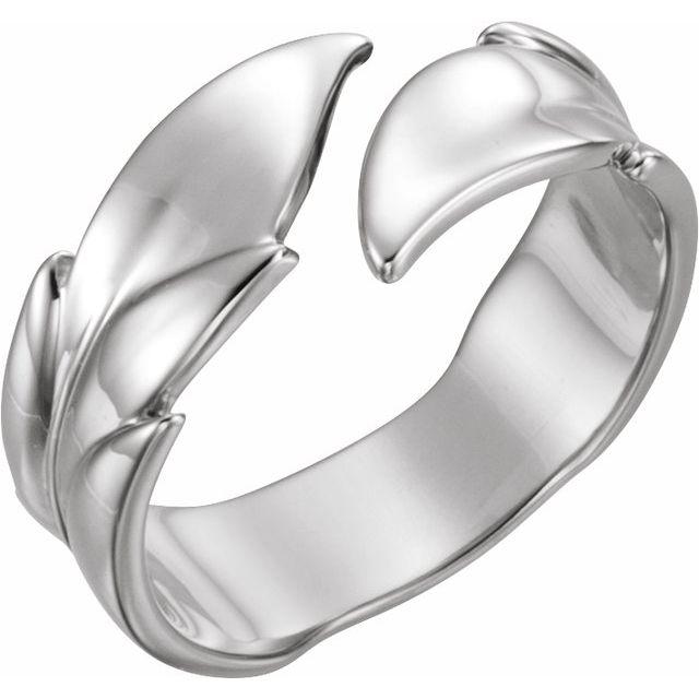 14K White Leaf Ring
