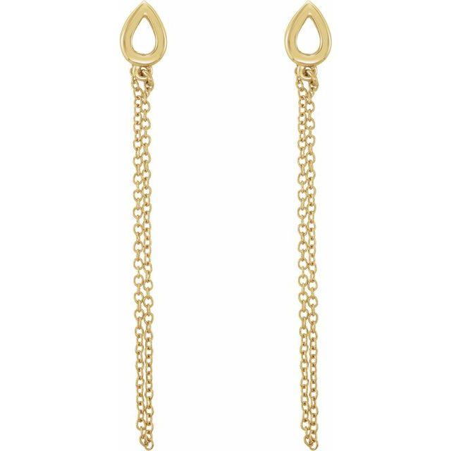 14K Yellow Leaf Chain Earrings