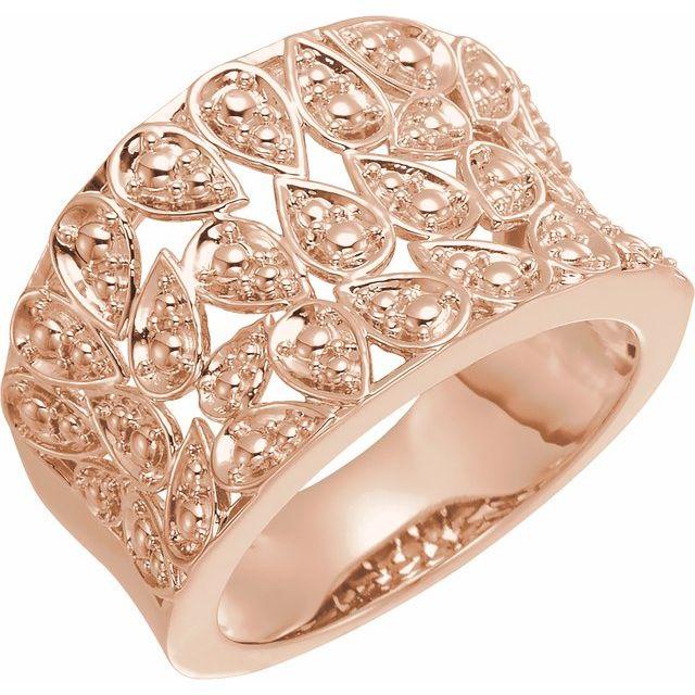 14K Rose Floral-Inspired Ring