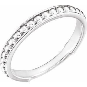 14K White Beaded Stackable Ring