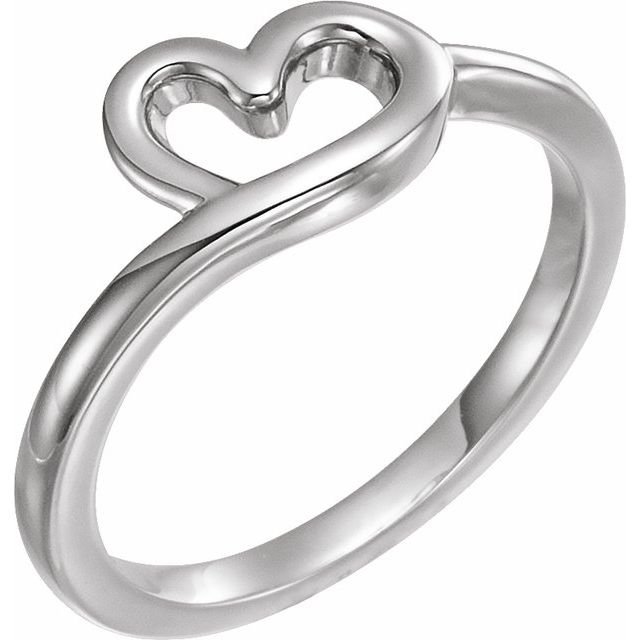 14K White Heart Youth Ring