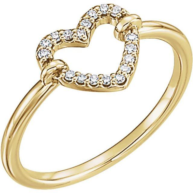 14K Yellow .07 CTW Diamond Heart Ring