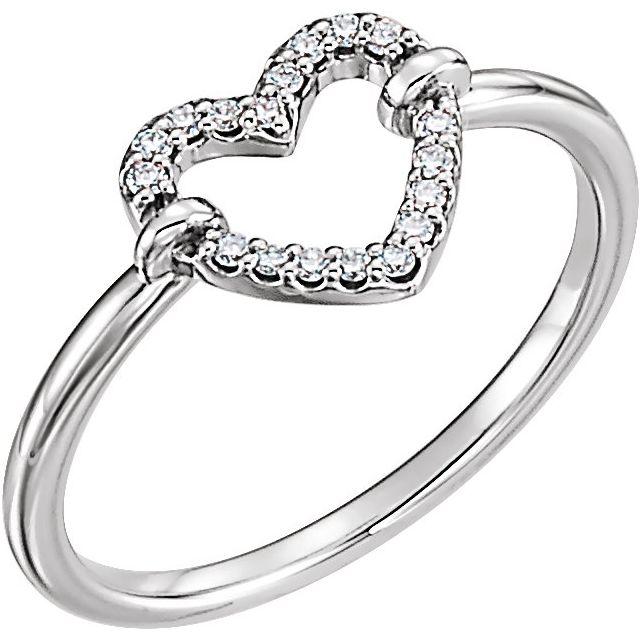 14K White .07 CTW Diamond Heart Ring