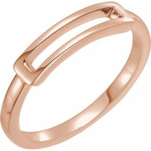 14K Rose Open Bar Ring