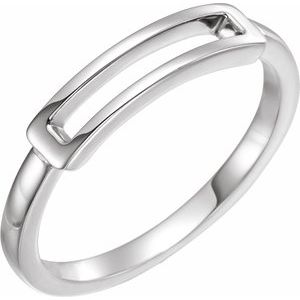 14K White Open Bar Ring