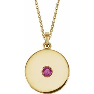 "14K Yellow Chatham® Lab-Created Ruby Disc 16-18"" Necklace"