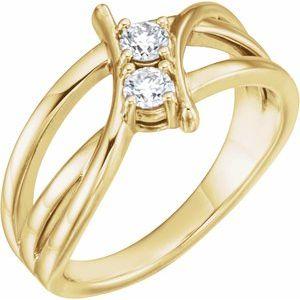 14K Yellow 1/4 CTW Diamond Two-Stone Ring
