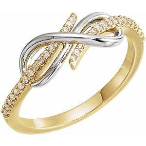 14K Yellow/White 1/10 CTW Diamond Infinity-Inspired Ring