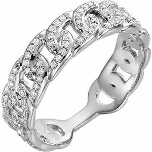 14K White 1/4 CTW Diamond Stackable Chain Link Ring