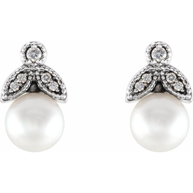 14K White Freshwater Pearl & .06 CTW Diamond Earrings