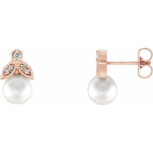 14K Rose Freshwater Pearl & .06 CTW Diamond Earrings