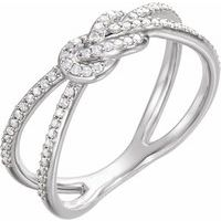 Sterling Silver 1/5 CTW Diamond Knot Ring