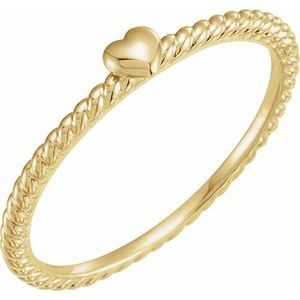 14K Yellow Heart Rope Ring
