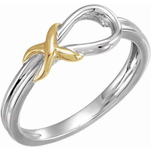 14K White & Yellow Knot Ring