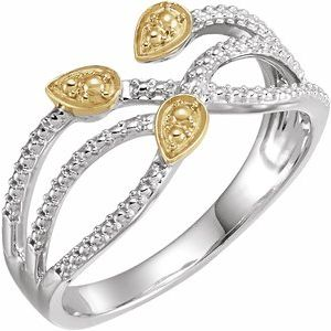 14K White & Yellow Criss-Cross Leaf Ring