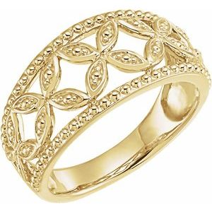 14K Yellow Leaf Ring