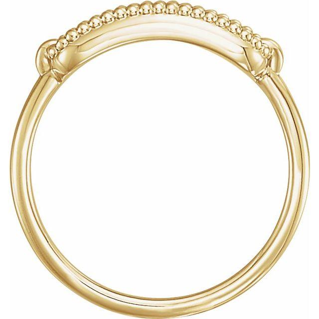 14K Yellow 15x6 mm Rectangle Beaded Signet Ring