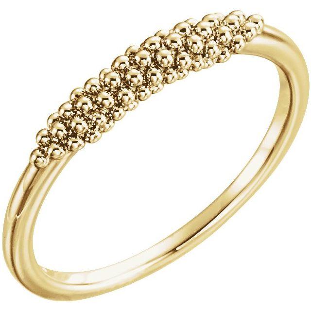 14K Yellow Beaded Ring
