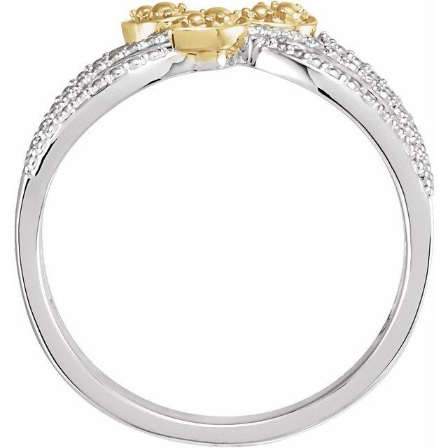 14K White & Yellow Criss-Cross Leaf Ring