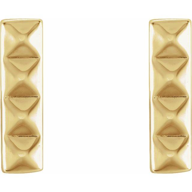14K Yellow Pyramid Bar Earrings