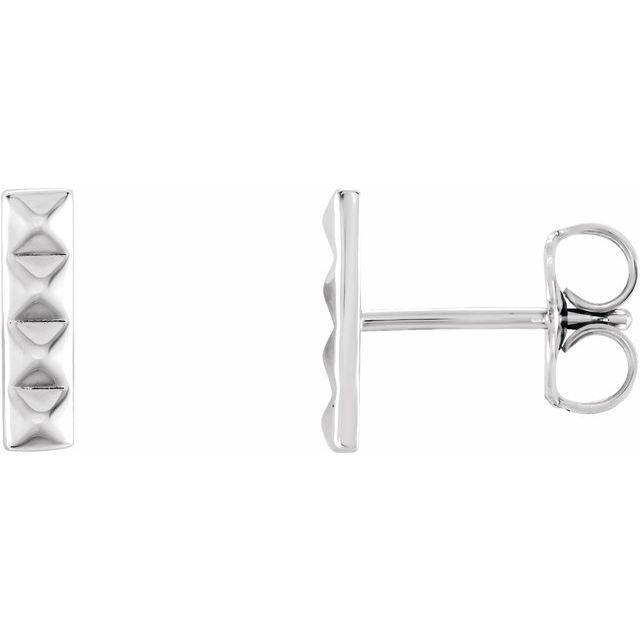 Sterling Silver Pyramid Bar Earrings