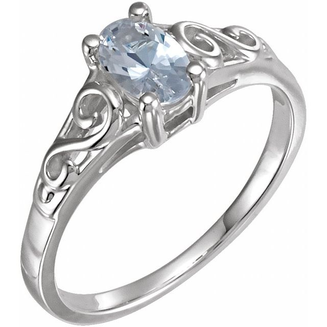 Sterling Silver April Youth Imitation Birthstone Ring