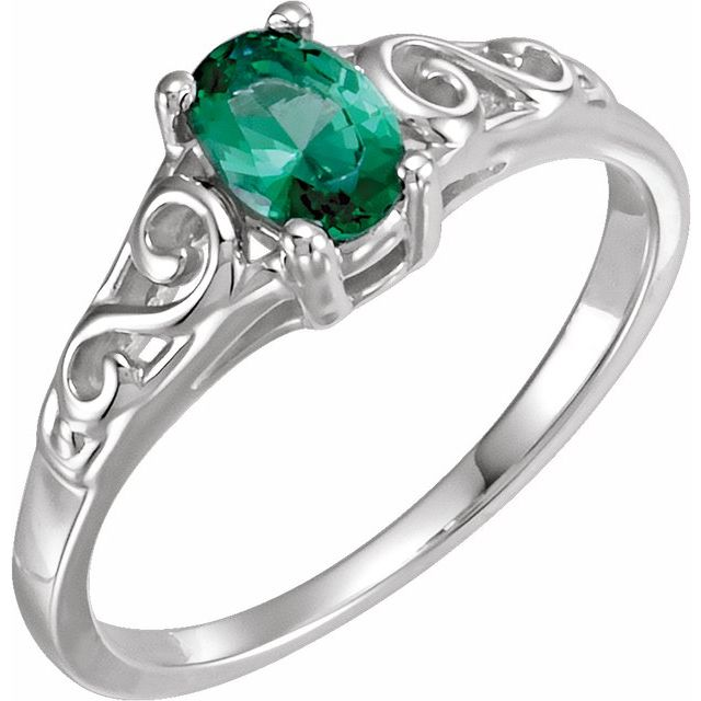 Sterling Silver May Youth Imitation Birthstone Ring